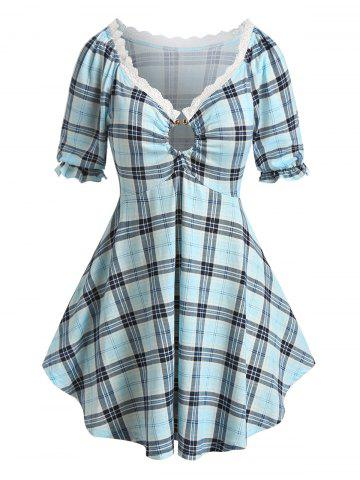 Plus Size Plaid Lace Trim Skirted Tunic Tee - BABY BLUE - 5X