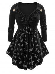 Plus Size Velvet Butterfly Ruched Skirted Tunic Tee -