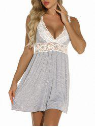 Plunge Lace Panel Jersey Chemise -
