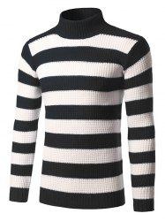 Turtleneck Striped Knit Pullover Sweater -