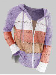 Plus Size Raglan Sleeve Colorblock Hooded Zip Up Cardigan -