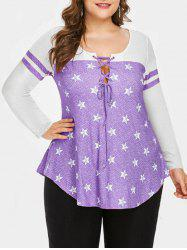 Plus Size Stars Print Lace Up Curved Tee -