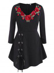 Lace Up Floral Embroidered Patched Plus Size Skirted Top -
