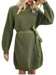 Crew Neck Belted Jumper Dress -