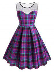 Plus Size Plaid Lace Insert Sleeveless Dress -