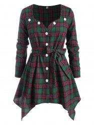 Sweetheart Button Up Belted Plaid Plus Size Blouse -
