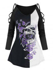 Gothic Skull Butterfly Print Straps Sleeve T Shirt -