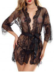 Lace Ribbon Belt Lingerie Robe Set -