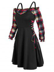 Off The Shoulder Plaid Blouse and Lace Up Dress Twinset -