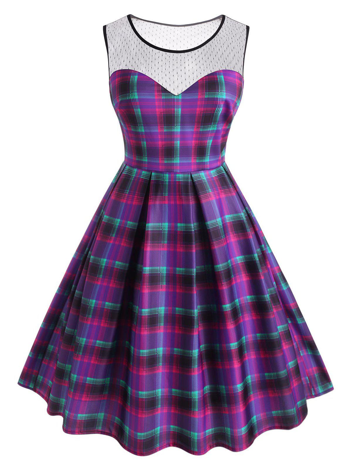 Outfits Plus Size Plaid Lace Insert Sleeveless Dress