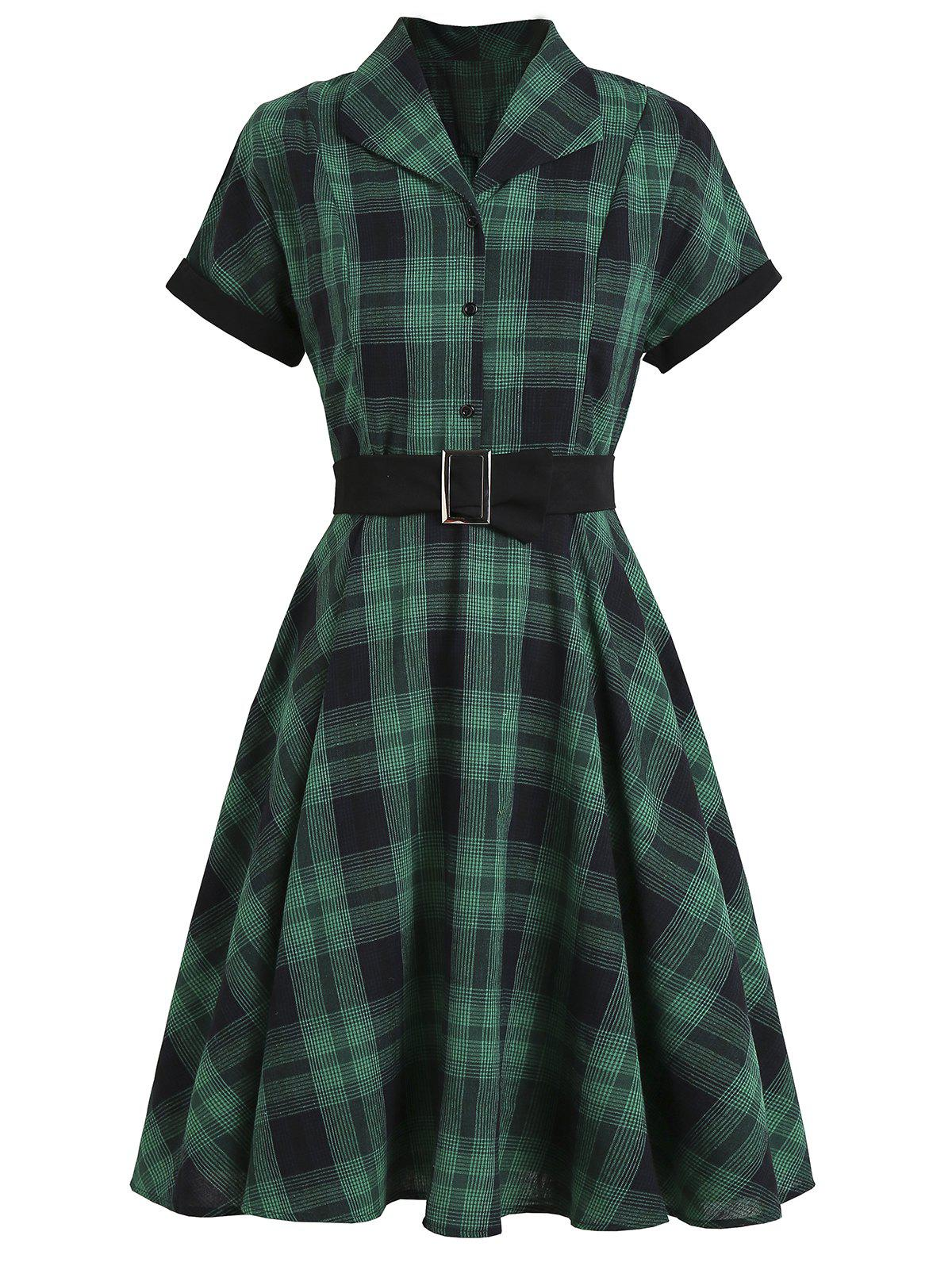 Latest Mock Button Plaid Belted Rolled Sleeve Dress