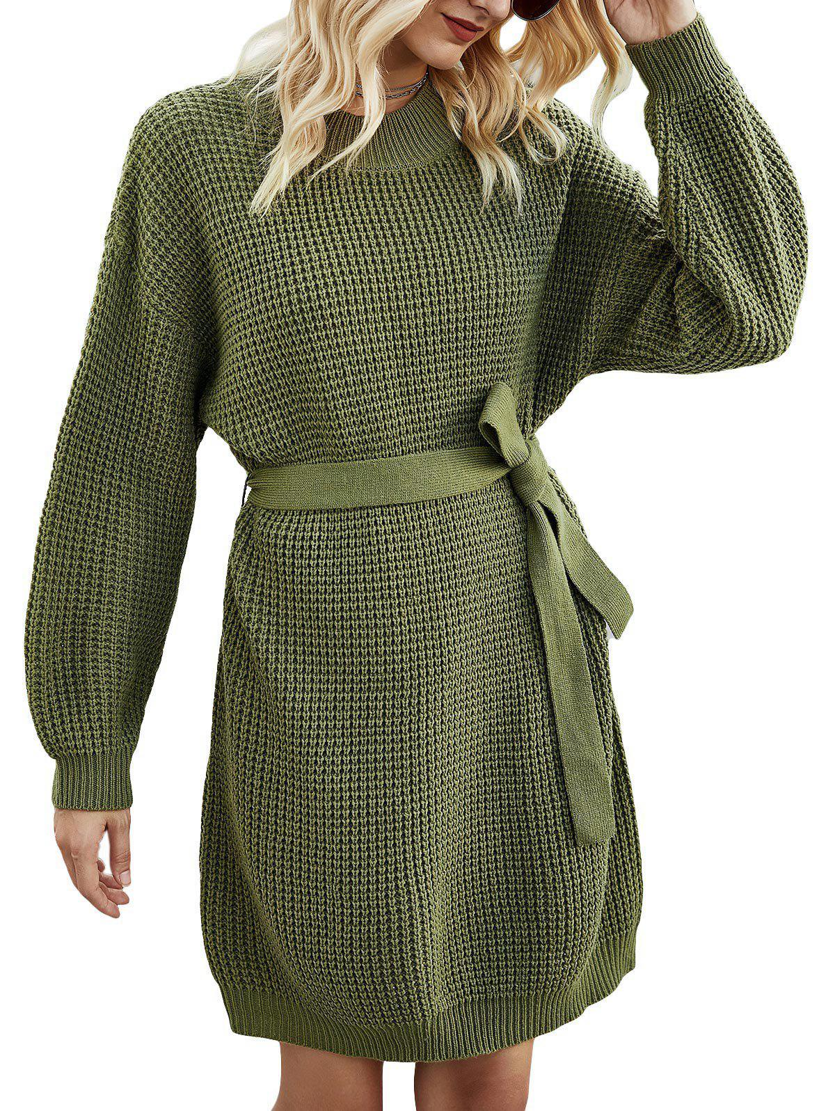 New Crew Neck Belted Jumper Dress
