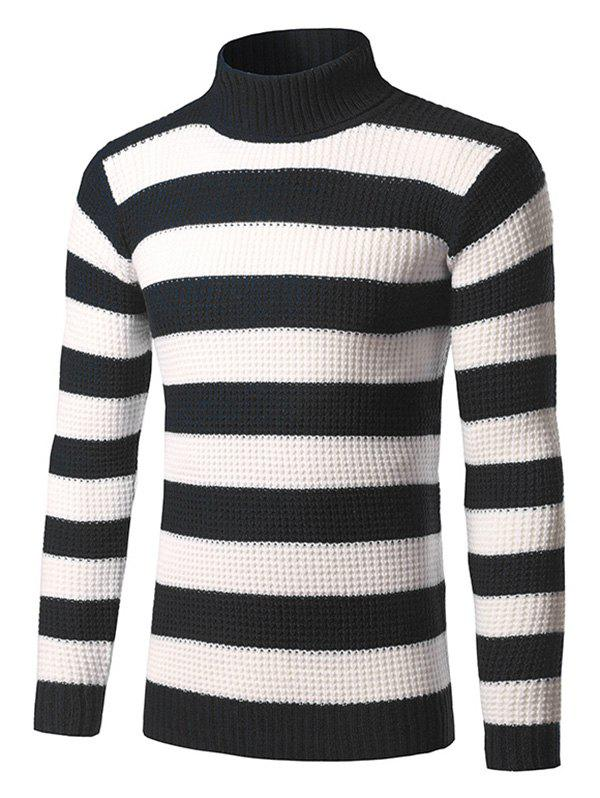 Latest Turtleneck Striped Knit Pullover Sweater