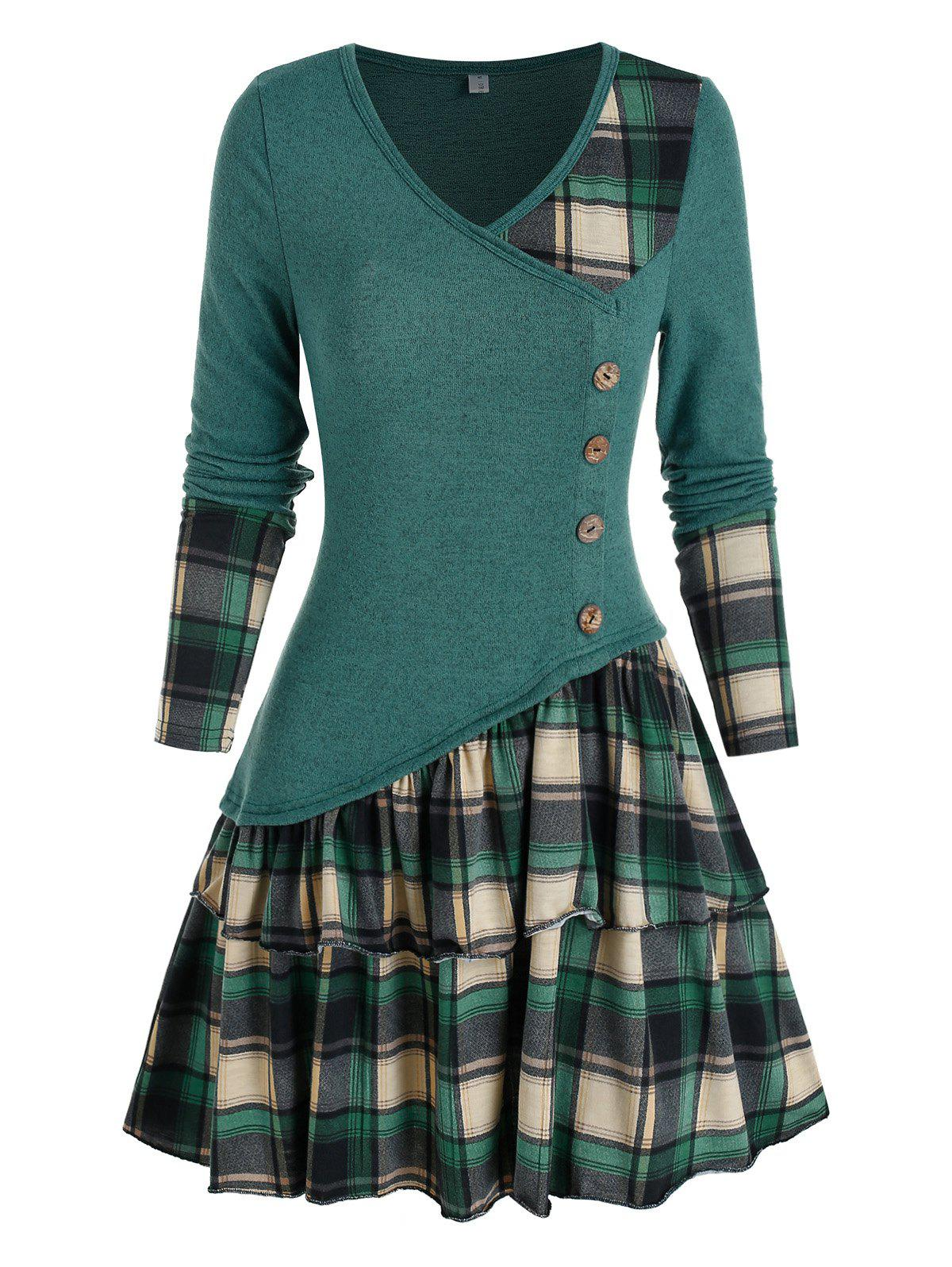 Fancy Plaid Panel Asymmetric Layers Flounce Dress