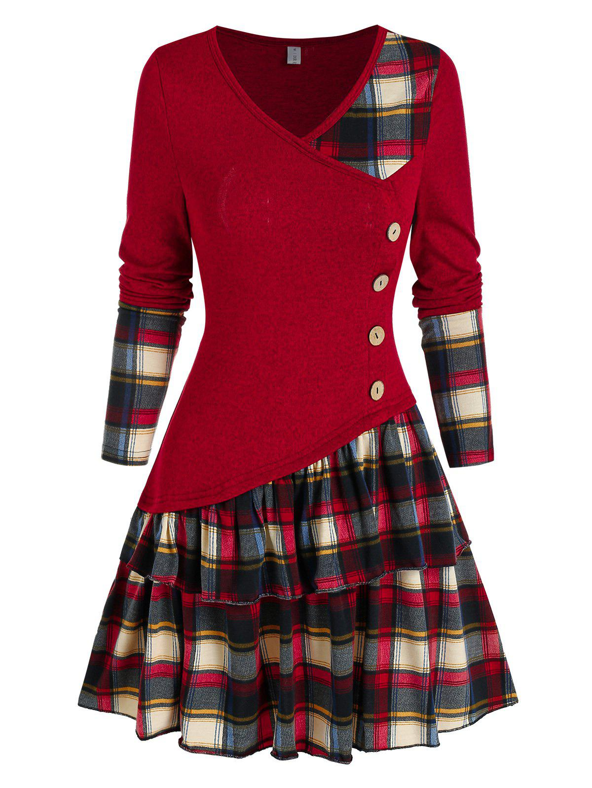 Affordable Plaid Panel Asymmetric Layers Flounce Dress