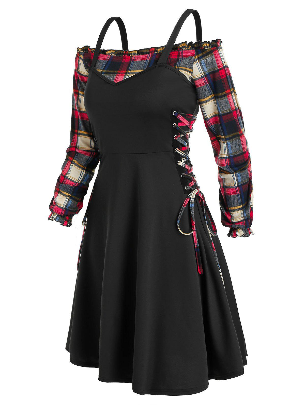 Discount Off The Shoulder Plaid Blouse and Lace Up Dress Twinset