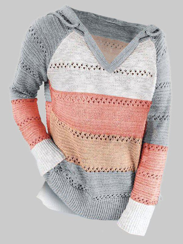 Discount Plus Size Colorblock Raglan Sleeve Hooded Slit Sweater