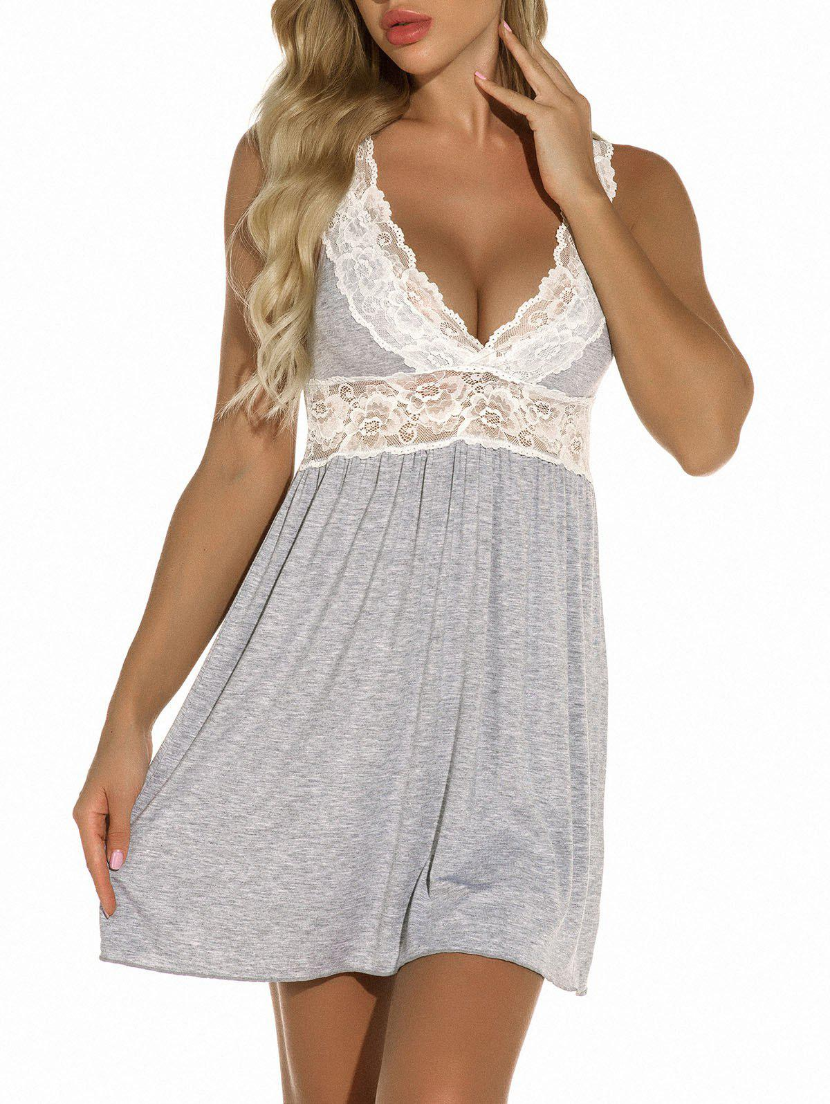Cheap Plunge Lace Panel Jersey Chemise