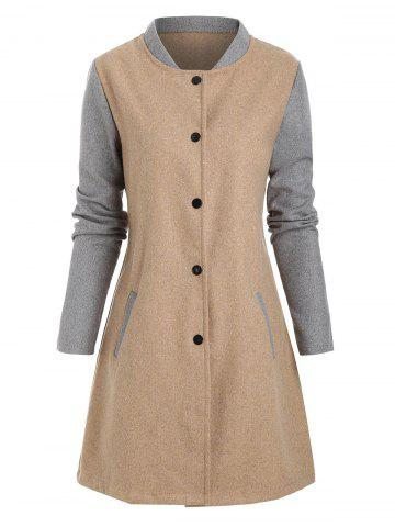 Contrast Wool Blend Snap Button Coat - LIGHT COFFEE - XL