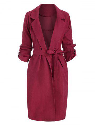 Side Slit Roll Sleeve Belted Trench Coat - RED - L