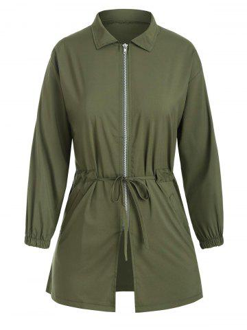 Zip Front Waist Drawstring Letter Print Coat - DEEP GREEN - XL