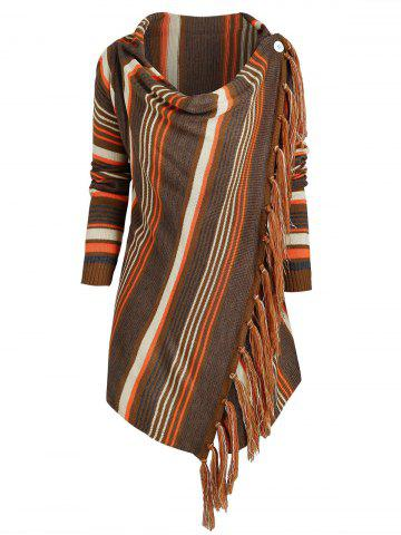 Cowl Neck Striped Fringed Hem Convertible Sweater - DEEP COFFEE - M