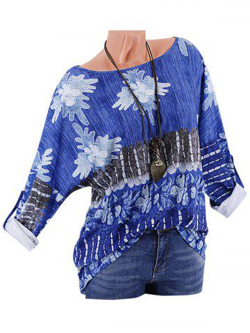 Plus Size Printed Drop Shoulder Roll Up Sleeve T Shirt - BLUE - 2XL