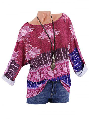 Plus Size Printed Drop Shoulder Roll Up Sleeve T Shirt - DEEP RED - 2XL