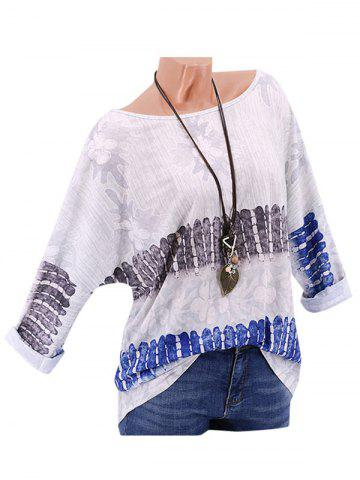 Plus Size Printed Drop Shoulder Roll Up Sleeve T Shirt - WHITE - XL