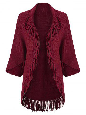 Fringed Trim Open Front Cardigan - DEEP RED - ONE SIZE