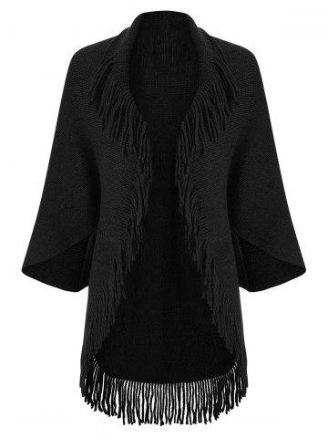 Fringed Trim Open Front Cardigan