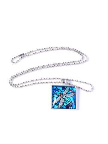 Painting Dragonfly Pattern Geometric Necklace