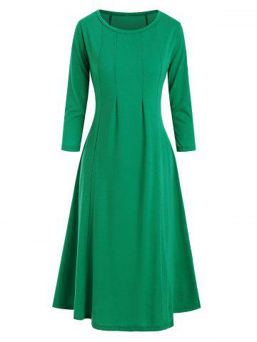 Pleated Detail Trapeze Midi Dress