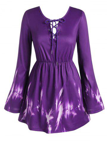 Plus Size Lace Up Bowknot Bell Sleeve Blouse - PURPLE - 4X