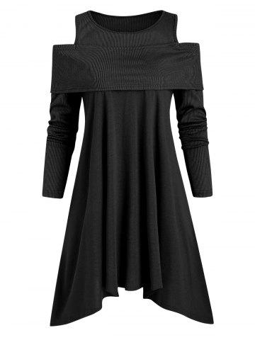 Ribbed Panel Jersey Cold Shoulder Asymmetrical Top