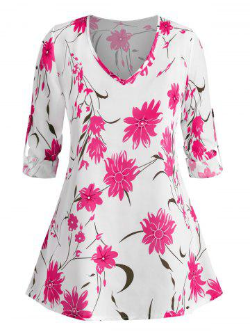 Plus Size Floral Print Roll Up Sleeve Blouse