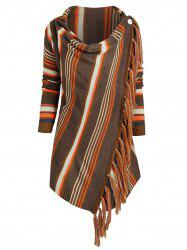 Cowl Neck Striped Fringed Hem Convertible Sweater -