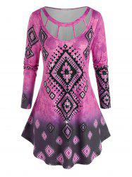 Plus Size Ombre Printed Cutout Round Hem Tunic Tee -