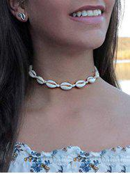 Beach Cowrie Shell Faux Pearl Necklace -
