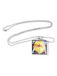 Retro Painting Dragonfly Square Pendant Necklace -