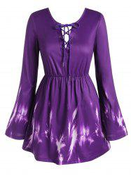 Plus Size Lace Up Bowknot Bell Sleeve Blouse -