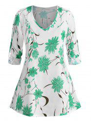 Plus Size Floral Print Roll Up Sleeve Blouse -