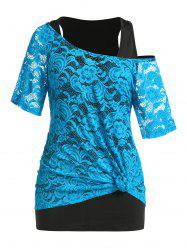 Plus Size Lace See Thru T-shirt and Tunic Tank Top Set -