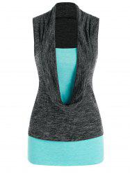 Cowl Front Heathered 2 in 1 Tank Top -