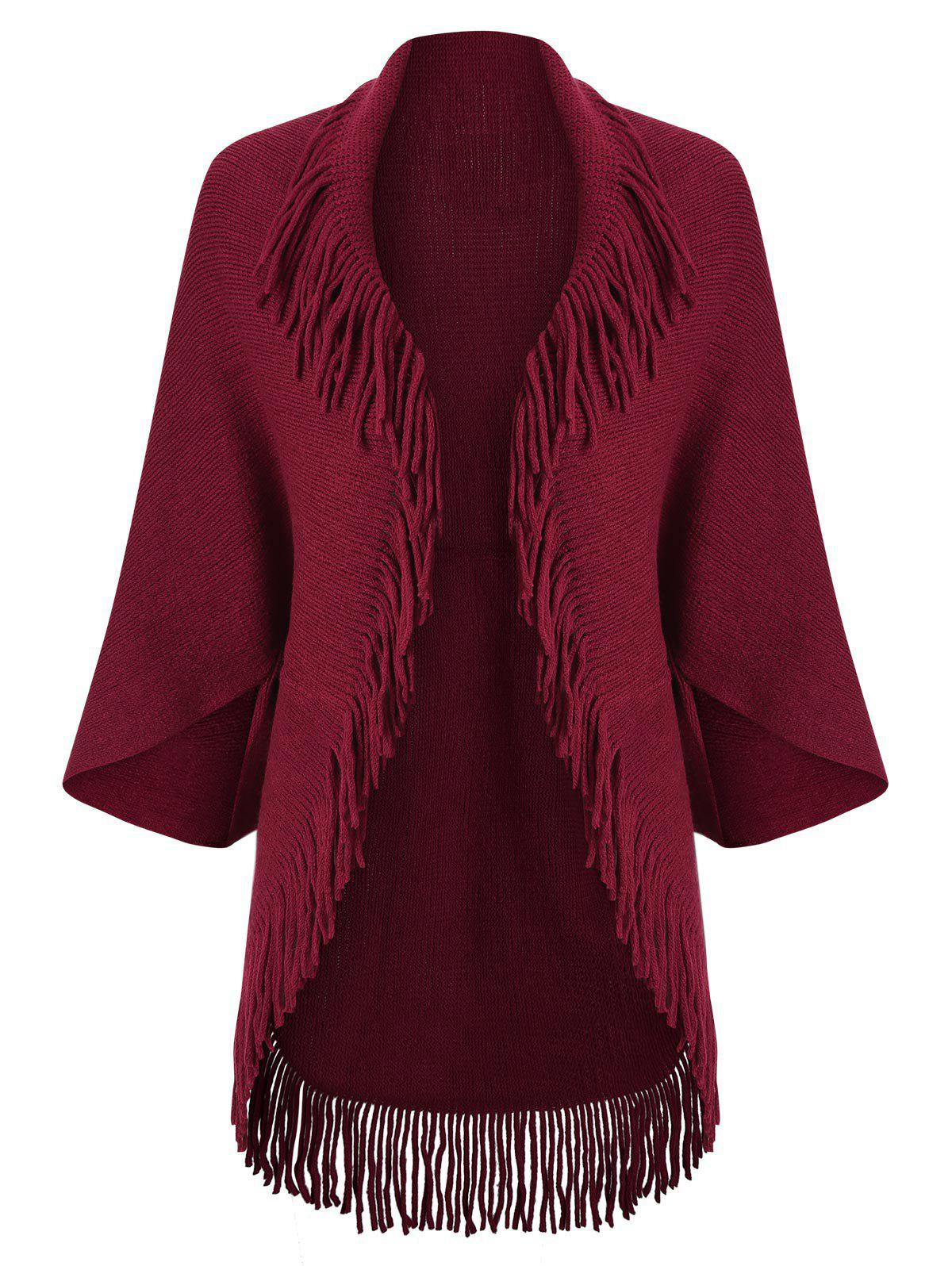 Store Fringed Trim Open Front Cardigan