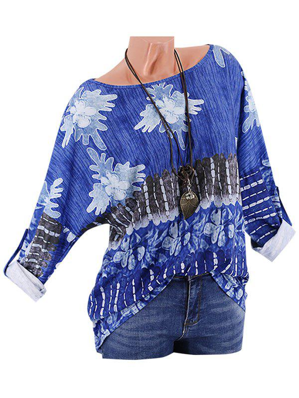 Shop Plus Size Printed Drop Shoulder Roll Up Sleeve T Shirt