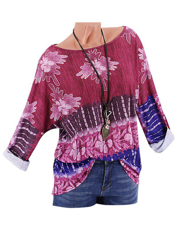New Plus Size Printed Drop Shoulder Roll Up Sleeve T Shirt