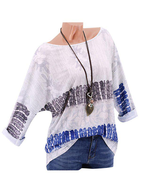 Unique Plus Size Printed Drop Shoulder Roll Up Sleeve T Shirt