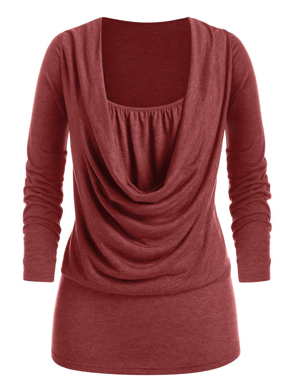 Online Plus Size Draped Cowl Front Ruched Long Sleeve Tee