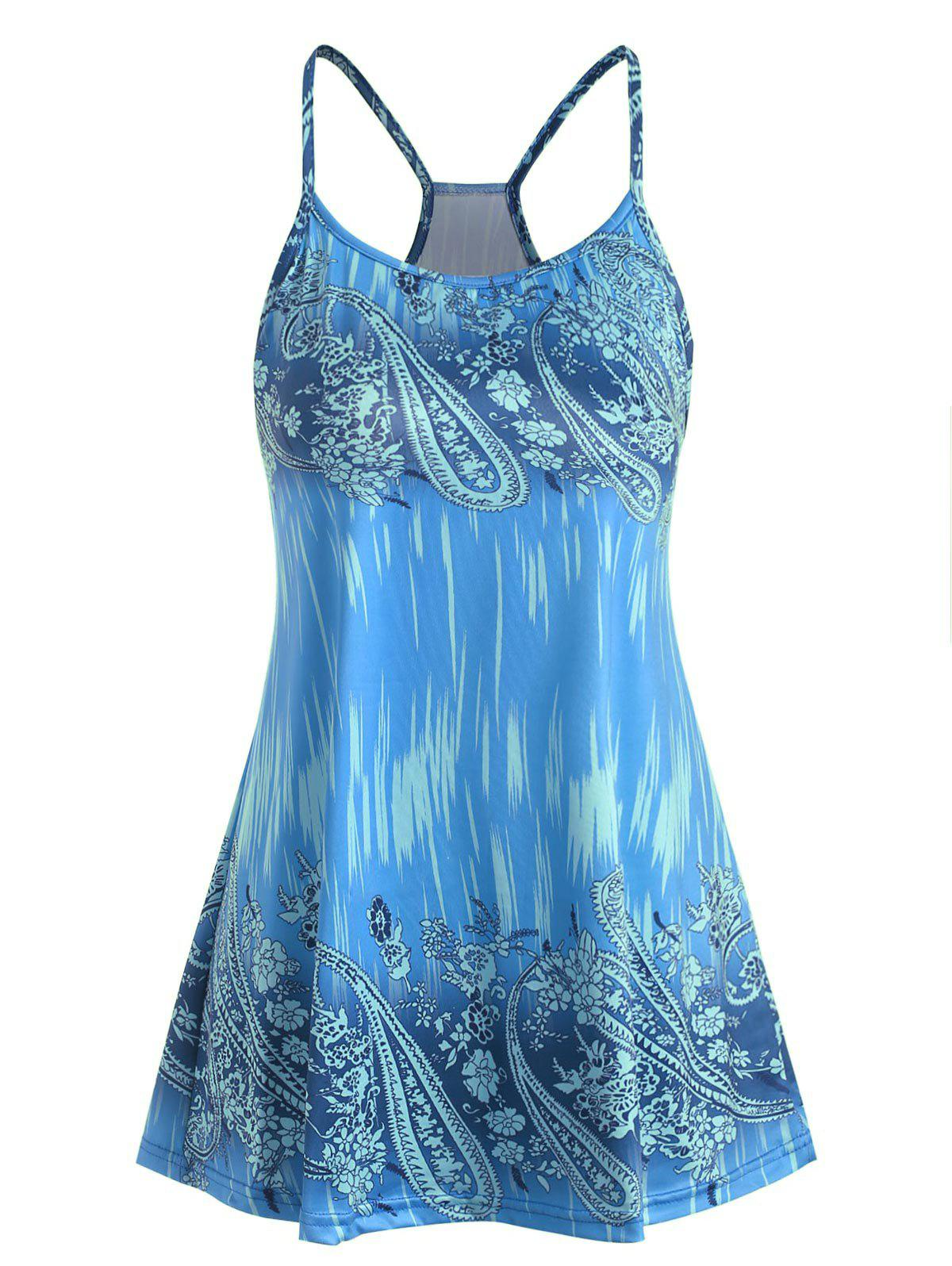 Hot Plus Size Floral Paisley Print Swing Cami Top